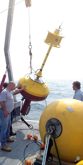 Surface buoy with wire rope data link deployment